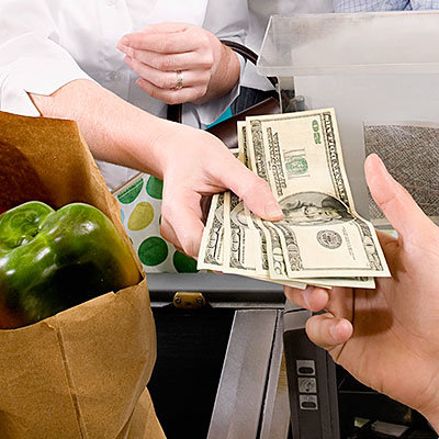 pay for groceries in cash