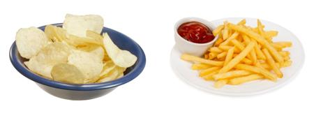 Potato chips and french fries